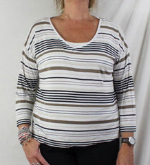 J Jill Top M size Multi Stripe Vneck Tee Shirt White Brown Black Lightweight - Jamies Closet - 2