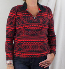 Ralph Lauren Active Sweater L size Red Black Zip Neck Henley Womens LRL Top - Jamies Closet - 1