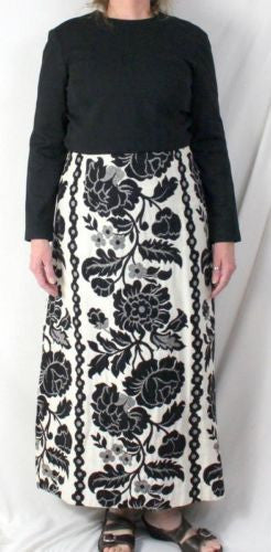 Vtg Rona M L size Black White Long Tapestry Cocktail Party Dance Dress Hostess - Jamies Closet - 1
