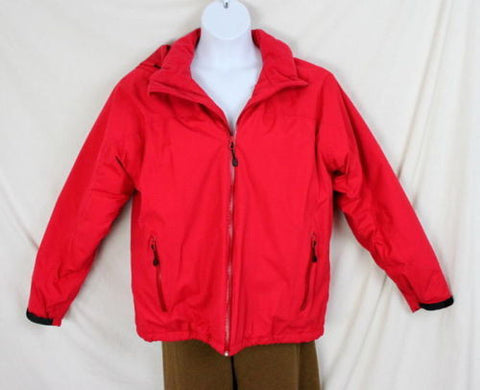 Lands End Jacket L 42 44 size Mens Red Zip Front Stow Away Aqua Check Thermolite - Jamies Closet - 1