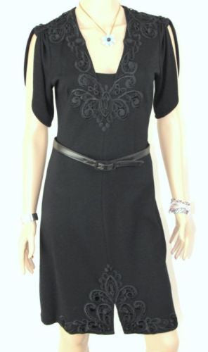 Yoana Baraschi 6 S size Dress Black Belted Knit Lace Embroidered Split Sleeve - Jamies Closet - 1