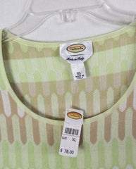 Talbots XL size New Sweater Green White Beige Short Sleeve All Season Top Italy - Jamies Closet - 4