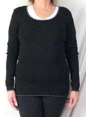 Cyrus M size Sweater Black White Accent Fine Knit Stretch Tunic All Season Top - Jamies Closet - 2