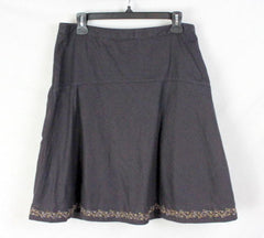 EMS Eastern Mountain Sports Skirt 6 S size Womens Brown Linen Blend Embroidered - Jamies Closet - 2