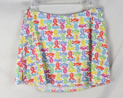 Fresh Produce Skirt 8 M size Multi Colored Fish Stretch Knit Mini Vacation Sport - Jamies Closet - 2