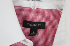 Talbots Shirt 2 XS size Womens Red White Button Wrinkle Resistant Top Work Play - Jamies Closet - 4