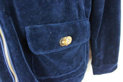 Lauren Ralph Lauren Jacket L size Womens Blue Velour Zip Hooded Gold Accents - Jamies Closet - 5