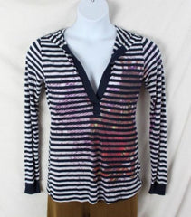 Romeo & Juliet Couture Top L size New Blue White Hooded Lightweight Tee Shirt - Jamies Closet - 2