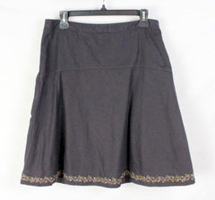 EMS Eastern Mountain Sports Skirt 6 S size Womens Brown Linen Blend Embroidered - Jamies Closet - 1