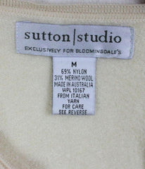 Sutton Studio Sweater M size Womens Bloomingdales Zip Cardigan Ivory Mixed Knit - Jamies Closet - 5