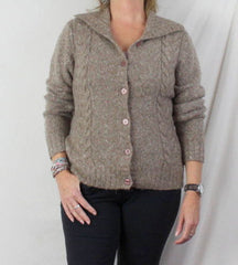 LL Bean Sweater M size Light Brown Flecked Womens Cable Cardigan Lightweight - Jamies Closet - 1