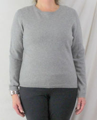 Valerie Stevens Cashmere Sweater L size New Gray 2ply Soft Crew Neck Easy Wear - Jamies Closet - 2
