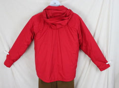 Lands End Jacket L 42 44 size Mens Red Zip Front Stow Away Aqua Check Thermolite - Jamies Closet - 4