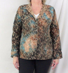 Tapestry Jacket L size Reversible Brown Blue Floral Lightweight All Season - Jamies Closet - 3