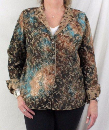 Tapestry Jacket L size Reversible Brown Blue Floral Lightweight All Season - Jamies Closet - 1