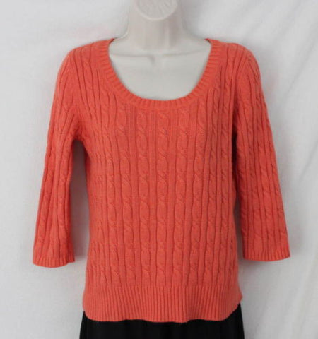 Ann Taylor Loft M size Sweater Orange Soft Cable All Season Womens 3.4 Sleeve - Jamies Closet - 1