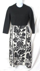 Vtg Rona M L size Black White Long Tapestry Cocktail Party Dance Dress Hostess - Jamies Closet - 2