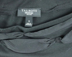 Talbots Top PS Petite Small size Womens Black Short Sleeve Shirt Ribbon Neckline - Jamies Closet - 5