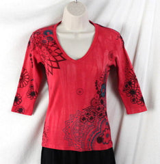 Glima Top XS Petite PXS size Red Floral 3.4 Sleeve Fitted All Season Tye Dye - Jamies Closet - 2