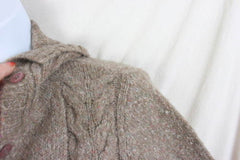 LL Bean Sweater M size Light Brown Flecked Womens Cable Cardigan Lightweight - Jamies Closet - 4