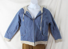 J Jill Jacket M size Zip Front Hooded Blue Denim Lined Box Fit All Season Casual - Jamies Closet - 3