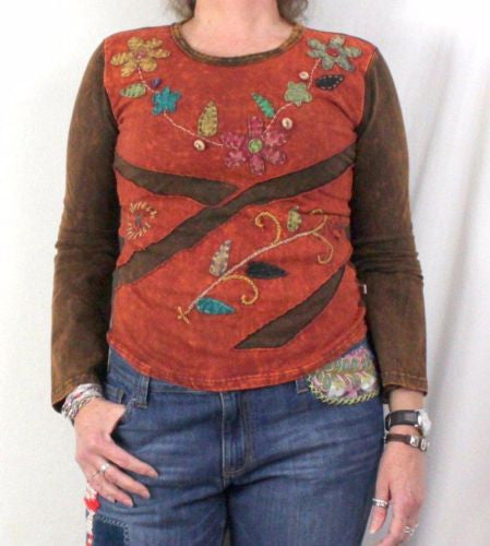 Mexicali Blues Blouse M size Brown Floral Embroidered Hippy Boho Top All Season - Jamies Closet - 1