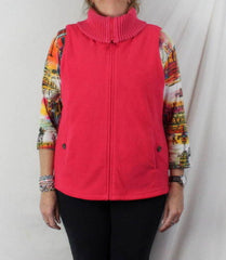 Lands End Fleece Vest L 14 16 size Bright Pink Zip Front Sweater Collar Heavy - Jamies Closet - 2
