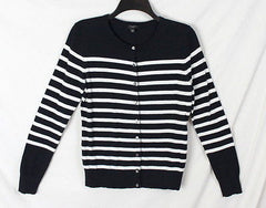Coldwater Creek M Petite MP size Cardigan Sweater Black Ivory Stripe All Season - Jamies Closet - 2