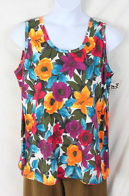 Physical Attraction Tank Top 2x size New Floral Cotton Colorful Summer Vacation - Jamies Closet - 1