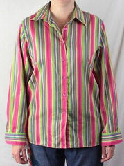 Foxcroft Blouse 10 M  Multi colored Wrinkle Free Classic Stripe Work Shirt - Jamies Closet - 6