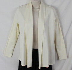 LL Bean Fly Away Shirt Jacket XS Petite Size Ivory Soft Supima Cotton Open Front - Jamies Closet - 2