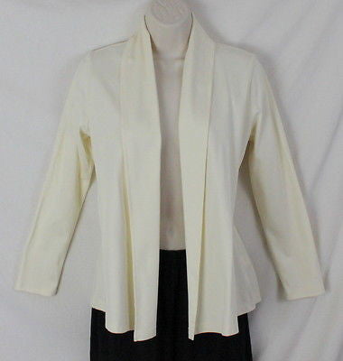 LL Bean Fly Away Shirt Jacket XS Petite Size Ivory Soft Supima Cotton Open Front - Jamies Closet - 1