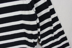 Coldwater Creek M Petite MP size Cardigan Sweater Black Ivory Stripe All Season - Jamies Closet - 3