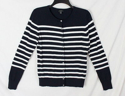 Coldwater Creek M Petite MP size Cardigan Sweater Black Ivory Stripe All Season - Jamies Closet - 1