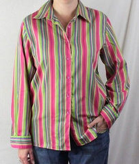 Foxcroft Blouse 10 M  Multi colored Wrinkle Free Classic Stripe Work Shirt - Jamies Closet - 1