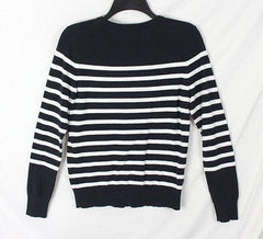 Coldwater Creek M Petite MP size Cardigan Sweater Black Ivory Stripe All Season - Jamies Closet - 5