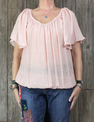 Cute New Torrid Blouse 1 1x size Pink Light Top Womens