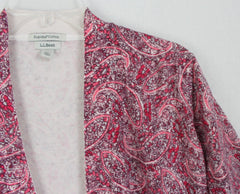 Pretty LL Bean Cardigan Sweater XL size Pink Burgundy Paisley Womens Open Front