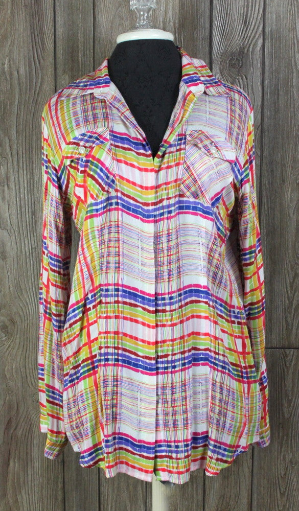Cute New CAbi M size Blouse Play Day Multi Color Top Womens Work Casual Shirt 89.00