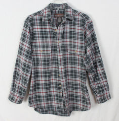 Great Outdoor Moose Creek M size Mens Heavy Cotton Shirt Black Gray Plaid - Jamies Closet - 2