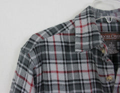 Great Outdoor Moose Creek M size Mens Heavy Cotton Shirt Black Gray Plaid - Jamies Closet - 4
