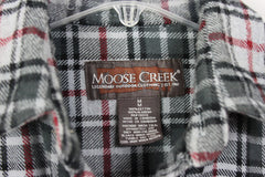 Great Outdoor Moose Creek M size Mens Heavy Cotton Shirt Black Gray Plaid - Jamies Closet - 5