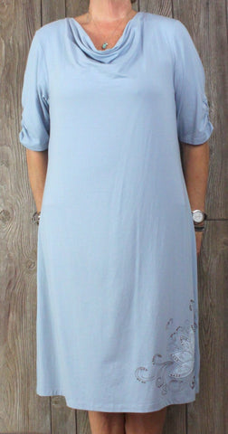 Acacia New Dress XL size Blue Drape Neck Lightweight Womens Career Casual Tunic - Jamies Closet - 1