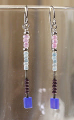 Cute Hand Crafted in the USA Blue Pink Glass Seed Bead Drop Earrings New - Jamies Closet - 1