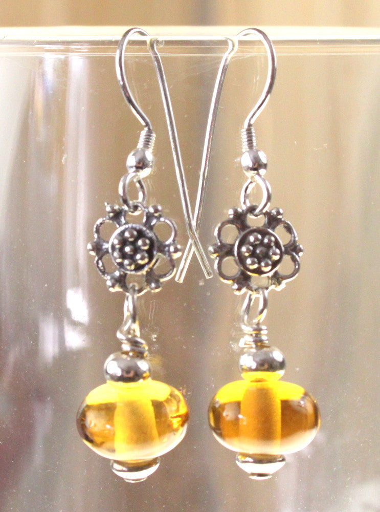 Hand Crafted In the USA Sterling Silver Wire Amber Yellow Glass Bead Earrings - Jamies Closet - 1