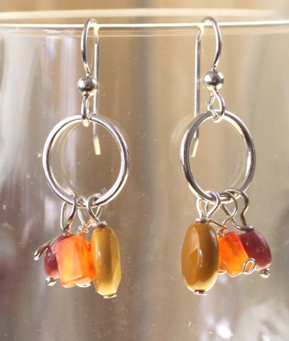 Hand Crafted in the USA Sterling Silver Gold Yellow Mixed Bead Drop Earrings New - Jamies Closet - 1