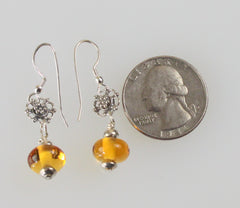 Hand Crafted In the USA Sterling Silver Wire Amber Yellow Glass Bead Earrings - Jamies Closet - 3