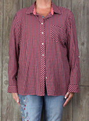 New Talbots Blouse XL size Pink Black Check Top Womens