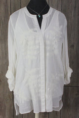 Nice oSo Casuals Blouse Set M size New Ivory Embroidered Top Tank 2pc Womens Shirts - Jamies Closet - 1