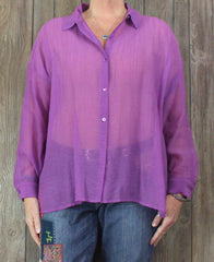 New Eileen Fisher Blouse L size Purple Rayon Crepe